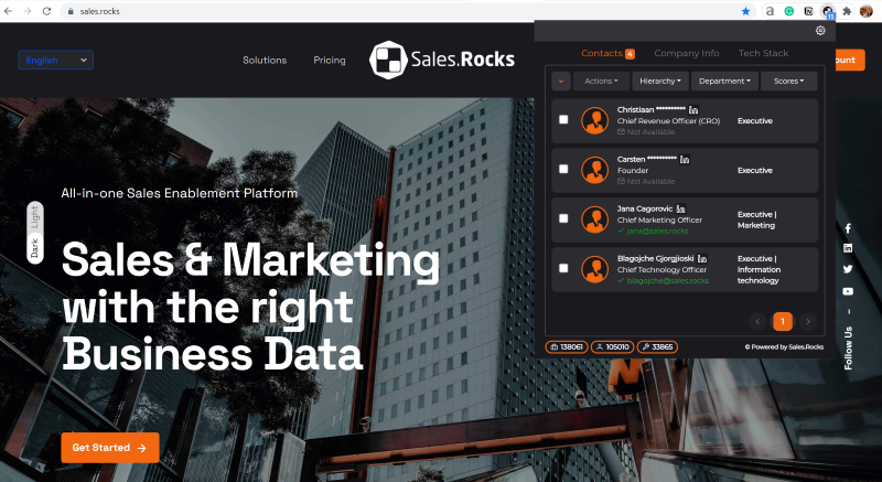 Sales.Rocks Chrome Extension for Digital Marketers